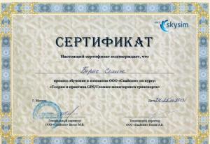 Сертификат обучения ГЛОНАСС/GPS мониторингу в Скайсим